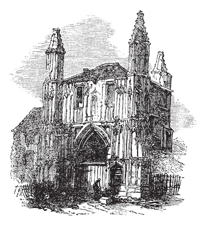 abbey: Colchester Abbey, in Essex, England, during the 1890s, vintage engraving. Old engraved illustration of Colchester Abbey.