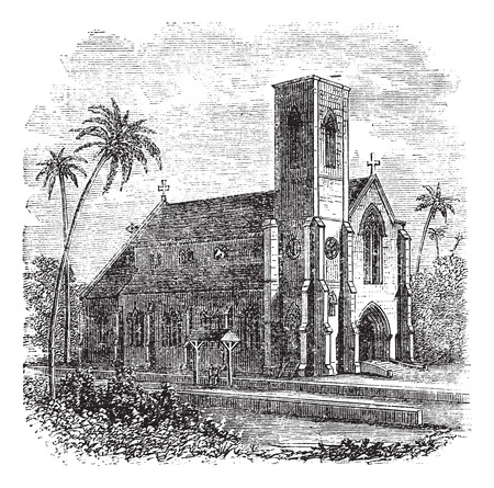 colombo: Saint Lucia Cathedral, in Colombo, Sri Lanka, during the 1890s, vintage engraving. Old engraved illustration of Saint Lucia Cathedral.