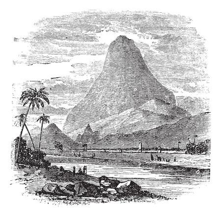 pico: Comorin pico en Kanyakumari, Tamil Nadu, India, el grabado de �poca. Ilustraci�n del Antiguo grabado Comorin Pico.