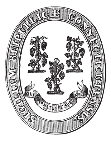 windsor: Seal of Connecticut, vintage engraving. Old engraved illustration of the Seal of Connecticut.