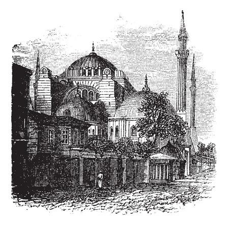 터키 이스탄불 Hagia 소피아, 1890 년대 동안 빈티지 조각. 옛 새겨진 Hagia 소피아의 그림입니다. 일러스트