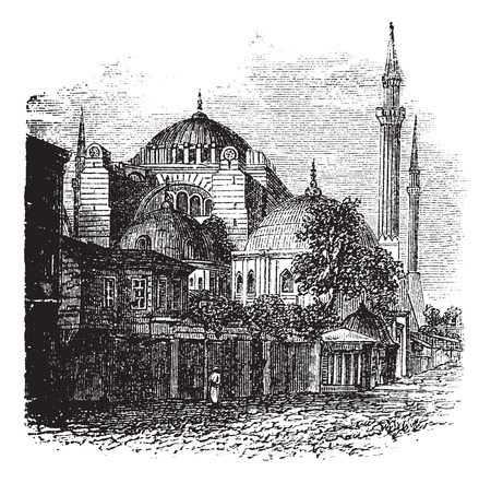 hagia sophia: Hagia Sophia in Istanbul, Turkey, during the 1890s, vintage engraving. Old engraved illustration of the Hagia Sophia.