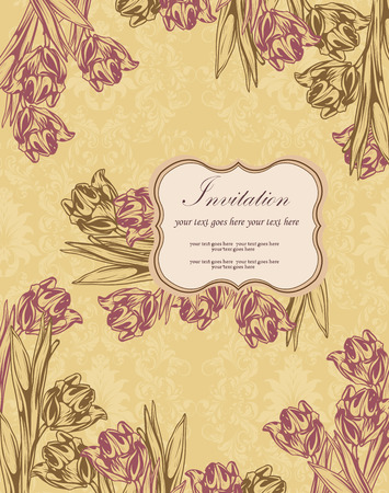 Vintage invitation card with ornate elegant retro abstract floral design, pale maroon and dark olive green flowers and leaves on dark yellow background with plaque text label. Vector illustration.