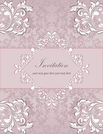 Vintage invitation card with ornate elegant retro abstract floral design, white flowers and leaves on pale grayish pink background with ribbon and plaque text label. Vector illustration. Illustration