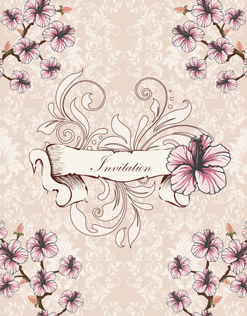 Vintage invitation card with ornate elegant retro abstract floral design, pink and white flowers and leaves on pale pink and white background with sash banner text label. Vector illustration. Illustration