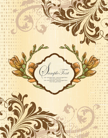 scratch card: Vintage invitation card with ornate elegant retro abstract floral design, yellow orange and brown flowers and leaves on scratch textured beige background with dots and plaque text label. Vector illustration.