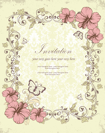 scratch card: Vintage invitation card with ornate elegant retro abstract floral design, pink and olive green flowers and leaves on scratch textured light yellow green background with butterflies and text label. Vector illustration. Illustration