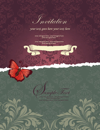 greenish: Vintage invitation card with ornate elegant retro abstract floral design, purple and greenish gray flowers and leaves on dark purple and dark laurel green background with ripped divider butterfly and text label. Vector illustration.