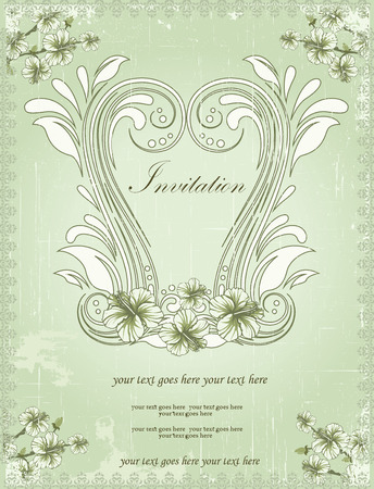 scratch card: Vintage invitation card with ornate elegant retro abstract floral design, white and laurel green flowers and leaves on scratch textured light green background with text label. Vector illustration.