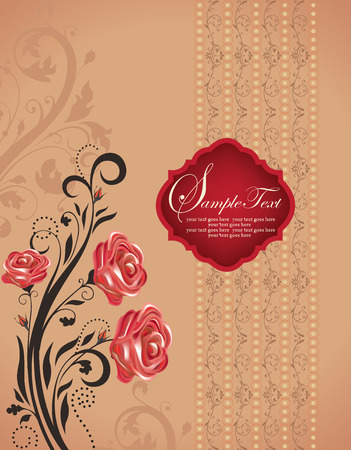 Vintage invitation card with ornate elegant retro abstract floral design, red and dark chocolate brown flowers and leaves on light grayish orange background with decorative stripes and plaque text label. Vector illustration.