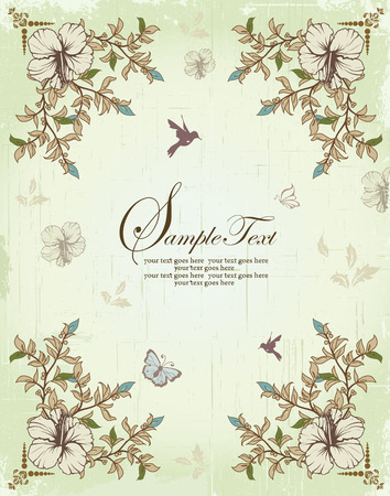 royal wedding: Vintage invitation card with ornate elegant retro abstract floral design, beige green light blue and light brown flowers and leaves on scratch textured light green background with birds and butterflies and text label. Vector illustration.