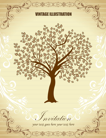 retro background: Vintage invitation card with ornate elegant retro abstract floral tree design, tree with leaves on faded striped beige and white background with text label. Vector illustration.