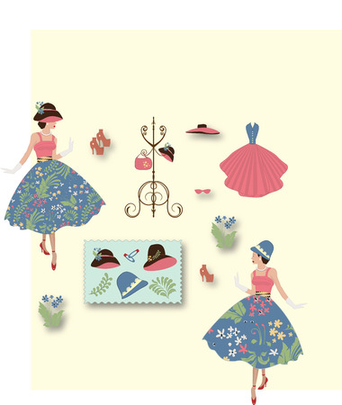 Fashion lady in floral dress with other fashion items and accessories on light yellow background. Vector illustration.