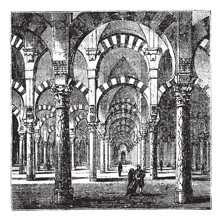 moor: Old engraved illustration of the interior of the Cathedral-Mosque of Cordoba.
