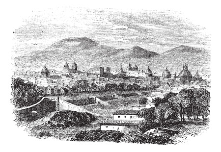 cuzco: Old engraved illustration of Cusco.
