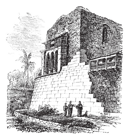 cuzco: Old engraved illustration of the Coricancha.
