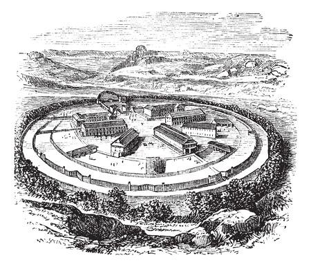 moor: Old engraved illustration of Dartmoor Prison.