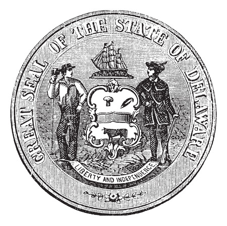 sheaf: Coat of Arms or Seal of Delaware, USA, during 1847 to 1906, vintage engraving. Old engraved illustration of the Coat of Arms or Seal of Delaware.