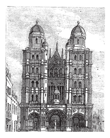 1890 년대 동안 부르고뉴, 프랑스 디종 성당, 빈티지 조각. 오래 디종 성당의 그림을 새겨 져.