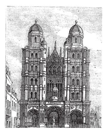 Dijon Cathedral in Burgundy, France, during the 1890s, vintage engraving. Old engraved illustration of Dijon Cathedral. Иллюстрация