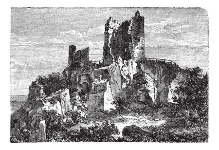 Old engraved illustration of the Ruin of Drachenfels Castle.