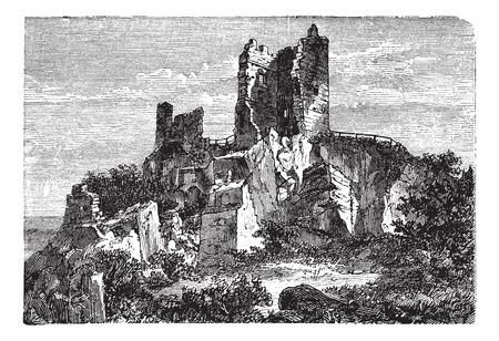 Vieux gravé illustration de la ruine de château de Drachenfels. Banque d'images - 37980514