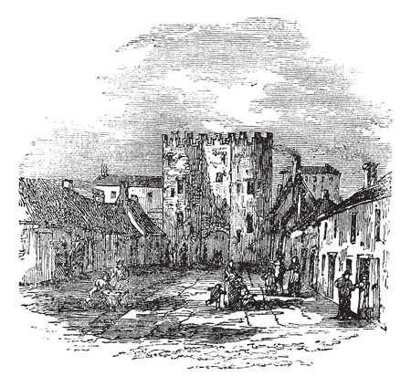 Old engraved illustration of Drogheda showing Saint Lawrence\'s Gate.