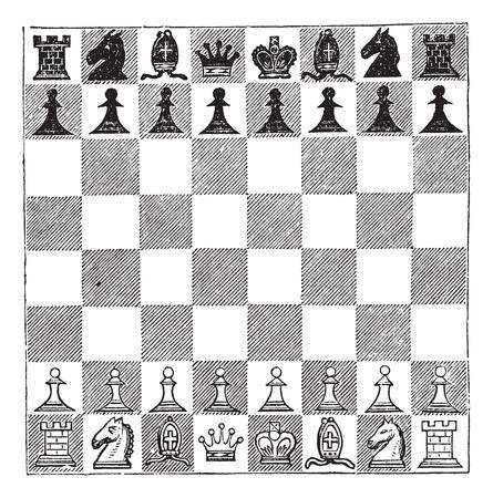 chess: Ilustración del Antiguo grabado de ajedrez que muestra piezas de ajedrez dispuestas sobre un tablero de ajedrez. Vectores