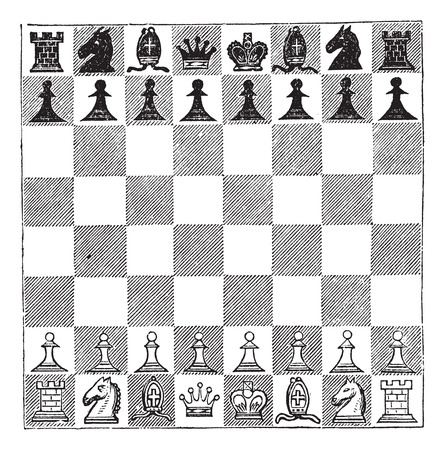 bishop chess piece: Old engraved illustration of Chess showing chess pieces arranged on a chess board.