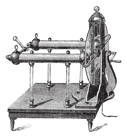 invented: Electrostatic Generator by Jesse Ramsden, invented in 1768, vintage engraved illustration