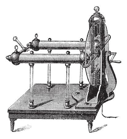 Elektrostatische generator door Jesse Ramsden, uitgevonden in 1768, vintage gegraveerde illustratie Stock Illustratie