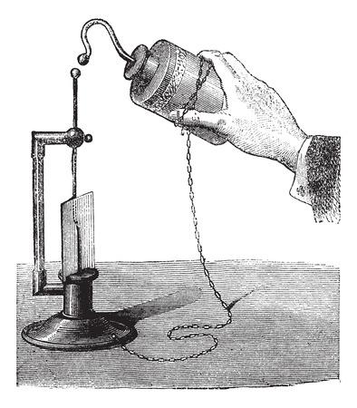capacitor: Leyden Jar, vintage engraved illustration