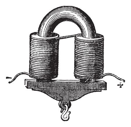 magnetismo: A forma di U elettromagnete, vintage illustrazione inciso. Trousset enciclopedia (1886 - 1891).
