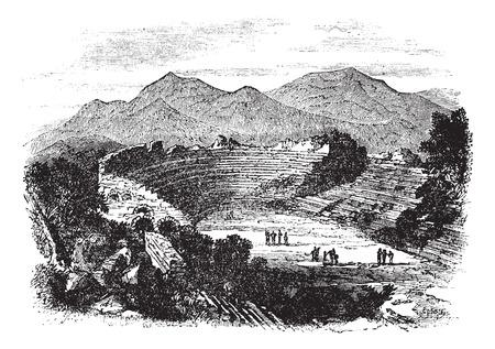 teatro antiguo: Ilustración del Antiguo grabado de Éfeso que muestra restos de teatro. Vectores