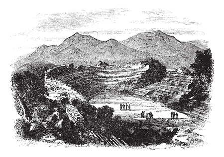 Old engraved illustration of Ephesus showing theater remains.
