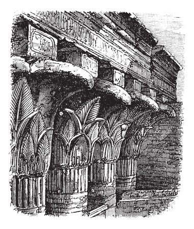 Grand Portico or Cross-Beam at the Temple of Khnum, in Esna, Egypt, during the 1890s, vintage engraving. Old engraved illustration of Grand Portico at the Temple of Khnum.
