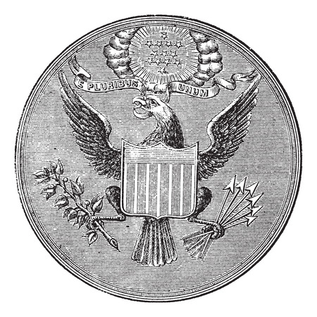 e pluribus unum: Great Seal of the United States of North America, vintage engraved illustration. Trousset encyclopedia (1886 - 1891). Illustration