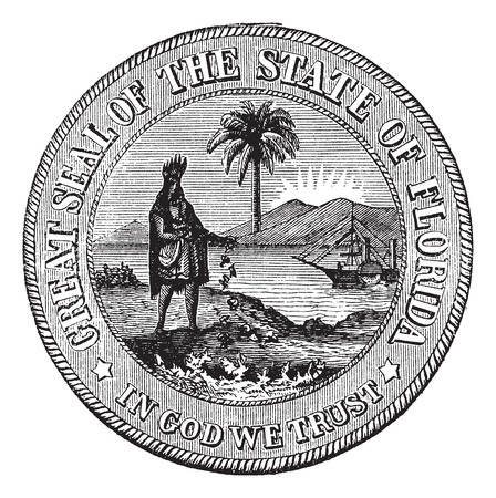 great seal: Seal of Florida, USA, vintage engraved illustration