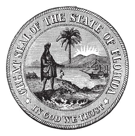 Seal of Florida, USA, vintage engraved illustration