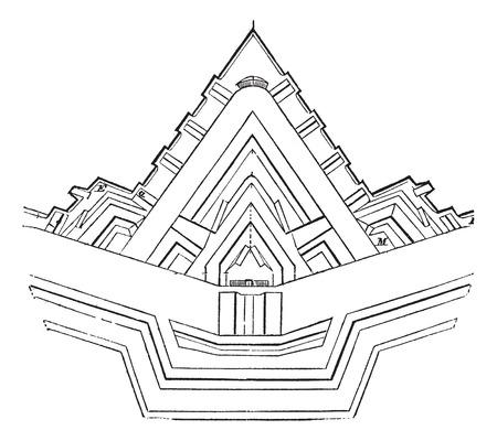 Plan einer Festung und ihre Abhängigkeiten, Jahrgang gravierte Darstellung. Trousset Enzyklopädie (1886 - 1891). Standard-Bild - 37980457