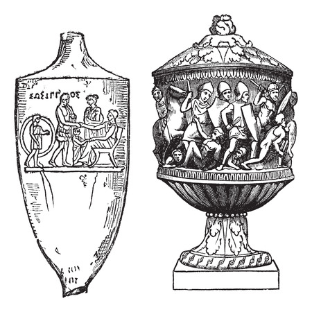 Old engraved illustration of Greek (left) and Roman (right), funerary urns isolated on a white background.