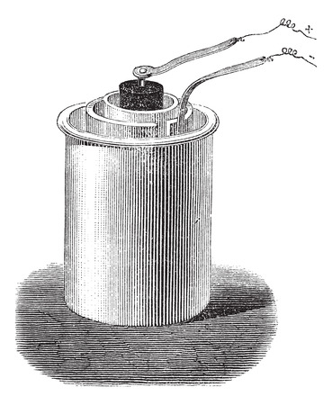 robert: vintage engraved illustration of Bunsen cell isolated against a white background.