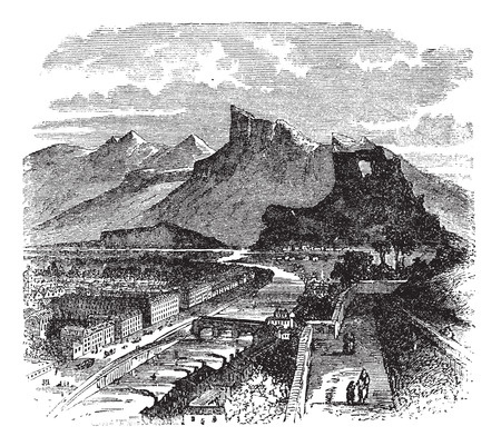 rural road: Old engraved illustration of  buildings and mountains, 1890s. Illustration