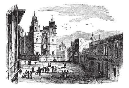 古いは、歴史的な大聖堂棟グアナフアト、1890 年代のイラストを刻まれています。