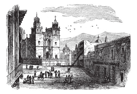 historic building: Old engraved illustration of historic cathedral building at Guanajuato, 1890s.
