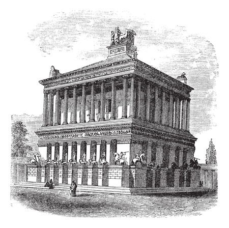 mausoleum: Old engraved illustration of Mausoleum at Halicarnassus during 1890s.