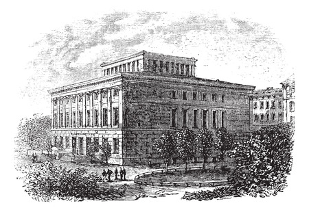 Old engraved illustration of university of Halle-Wittenberg,1800s Vettoriali