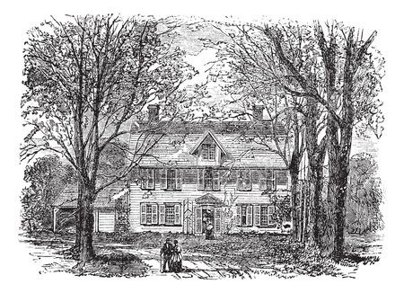 leading: Old engraved illustration of treelined path leading towards old manse, during 1890s.