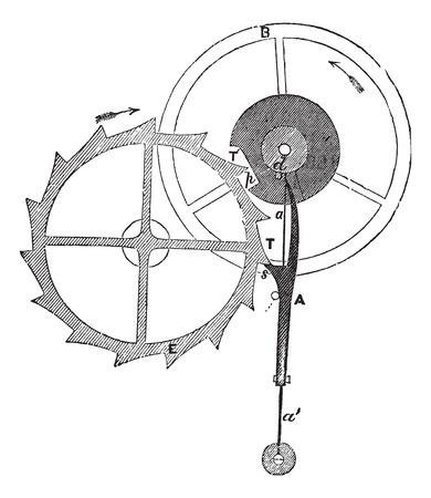 mechanization: Old engraved illustration of Chronometer Escapement of Thomas Earnshaw isolated on a white background.