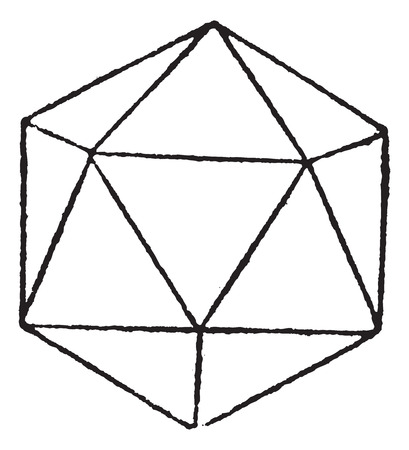 icosahedron: Regular Icosahedron, vintage engraving. Old engraved illustration of Regular Icosahedron isolated on a white background.